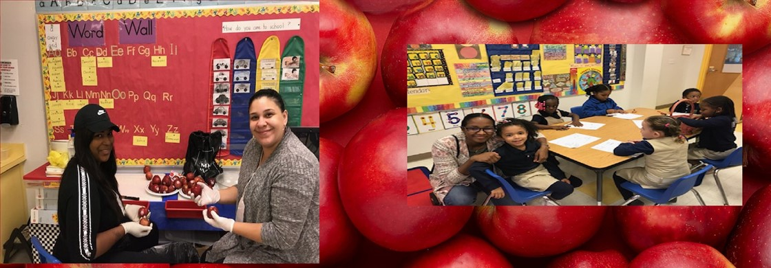 Parent volunteers help Mrs. Zimmerman's pre-k class to make applesauce! We love our families at A.P. Morris!