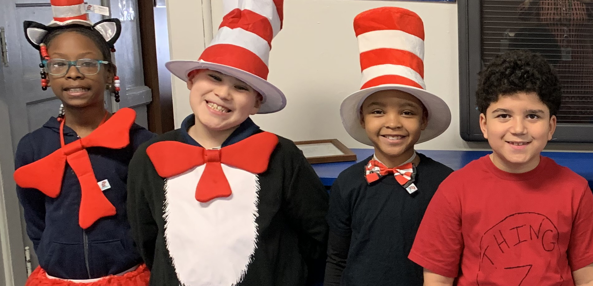 students dressed as cat in the hat